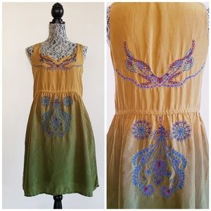 JOHNNY WAS 100% Silk Embroidered ombre Dress